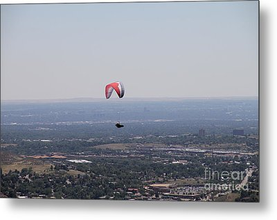 Metal Print featuring the photograph Paragliding Over Golden by Chris Thomas