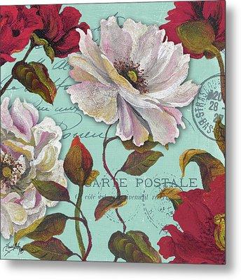 Paris Aqua Flowers II Metal Print