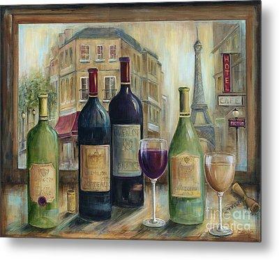 Paris Wine Tasting With A View Metal Print by Marilyn Dunlap