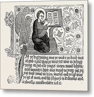 Passage From The First English Bible Gospel Of St Metal Print