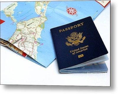 Passport And Map Of Bermuda Metal Print