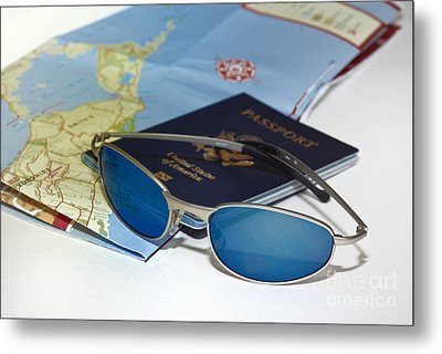 Passport Sunglasses And Map Metal Print by Amy Cicconi