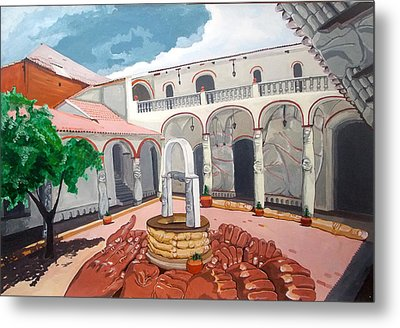 Metal Print featuring the painting Patio Colonial by Lazaro Hurtado