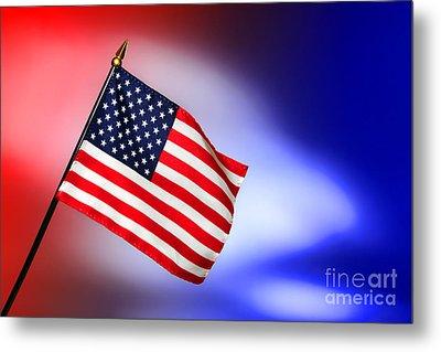 Patriotic American Flag Metal Print by Olivier Le Queinec