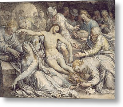 The Lamentation Over The Dead Metal Print by Isaac Oliver