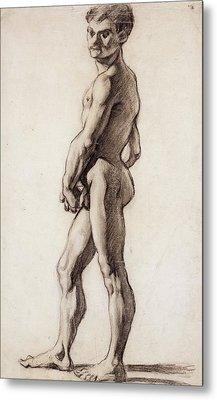 Male Nude Metal Print by Paul Cezanne