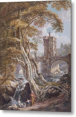 View Of The Old Welsh Bridge Metal Print by Paul Sandby