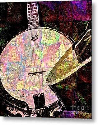 Pearl Digital Banjo And Guitar Art By Steven Langston Metal Print by Steven Lebron Langston