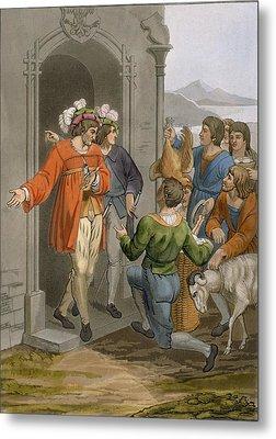 Peasants Giving Tithes, Alpine Region Metal Print by Italian School
