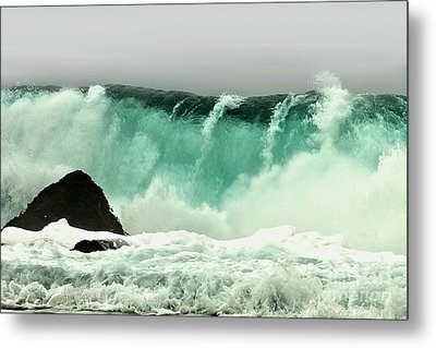 Pebble Beach Crashing Wave Metal Print by Artist and Photographer Laura Wrede