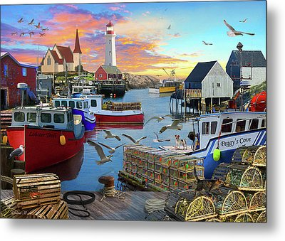 Metal Print featuring the drawing Peggys Cove by David M ( Maclean )