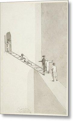 People Climbing Across A Gap Metal Print