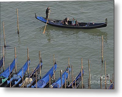People Touring Venice In Gondola Metal Print