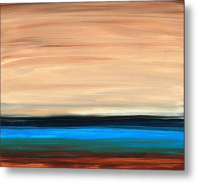 Perfect Calm - Abstract Earth Tone Landscape Blue Metal Print by Sharon Cummings