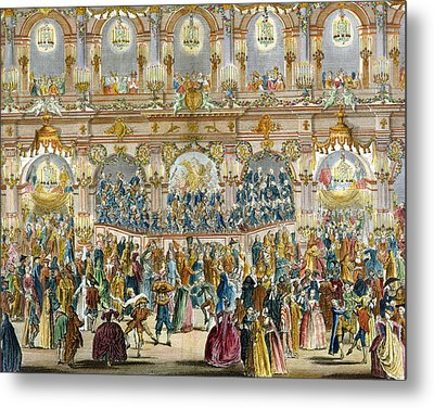 Perspective View Of The Ballroom Metal Print by French School