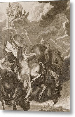 Phaeton Struck Down By Jupiter's Thunderbolt Metal Print by Bernard Picart
