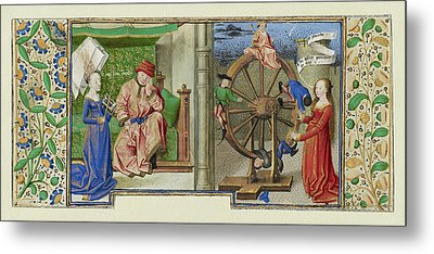 Philosophy Consoling Boethius And Fortune Turning The Wheel Metal Print