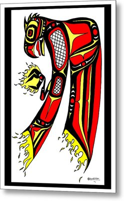 Phoenix Red And Yellow Metal Print by Speakthunder Berry