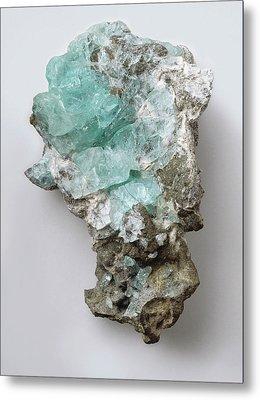 Phosphophyllite Crystals On Pyrite Metal Print by Dorling Kindersley/uig