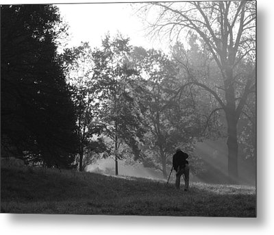 Metal Print featuring the photograph Photographer In The Mist by Ed Cilley