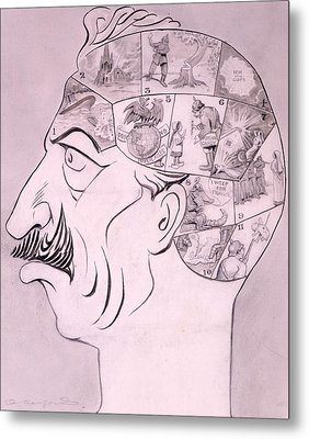 Phrenological Chart Of The German Metal Print by Oliver Herford