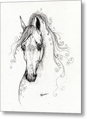 Piaff Polish Arabian Horse Drawing Metal Print by Angel  Tarantella
