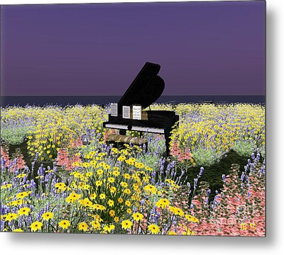 Metal Print featuring the digital art Piano In Spring by Susanne Baumann