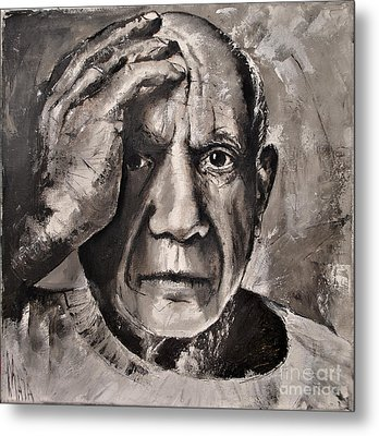 Portrait Of Pablo Picasso Metal Print by Maja Sokolowska