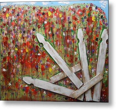 Picket Fence Flower Garden Metal Print