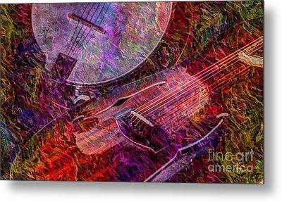 Pickin And A Grinnin Digital Banjo And Guitar Art By Steven Langston Metal Print by Steven Lebron Langston