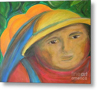 Picking Oranges Metal Print by Teresa Hutto