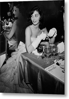 Pier Agnelli Wearing An Evening Gown At A Ball Metal Print by Nick De Morgoli