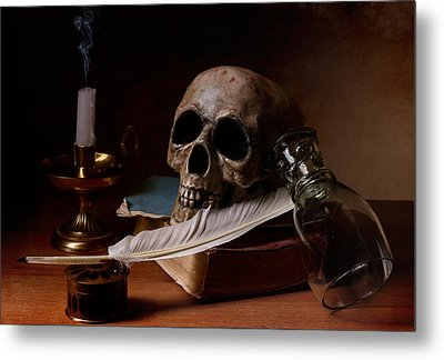 Metal Print featuring the photograph Vanitas With Snuffed Candle And Writing Utensils by Levin Rodriguez