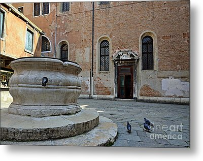 Pigeons In A Courtyard By Well Metal Print