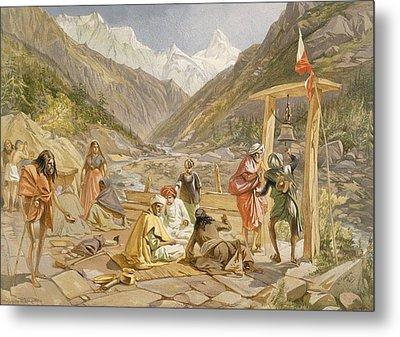 Pilgrims At Gangootree, From India Metal Print