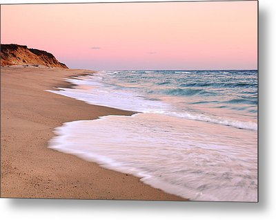 Pink Pastel Beach And Sky Metal Print