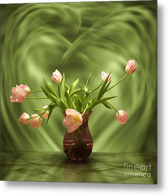 Pink Tulips In Green Room Metal Print by Johnny Hildingsson