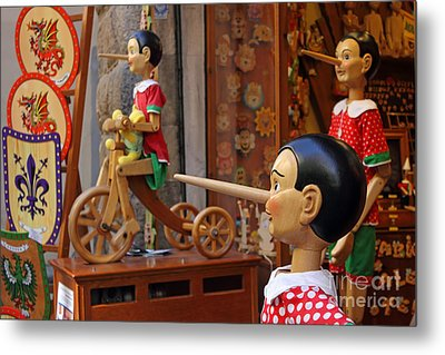 Pinocchio Inviting Tourists In Souvenirs Shop Metal Print by Kiril Stanchev