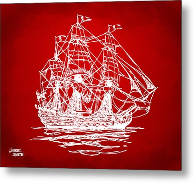 Pirate Ship Artwork - Red Metal Print by Nikki Marie Smith