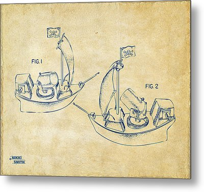 Pirate Ship Patent Artwork - Vintage Metal Print by Nikki Marie Smith