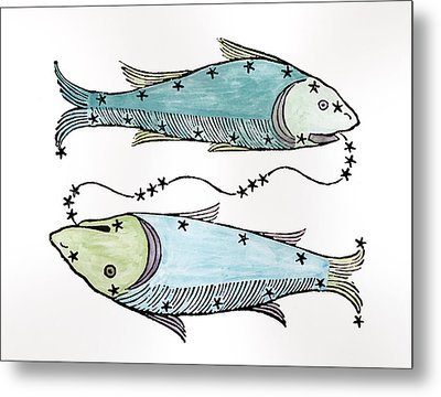 Pisces An Illustration Metal Print by Italian School