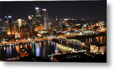 Pittsburgh Night Panorama Metal Print by Frozen in Time Fine Art Photography