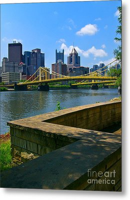 Pittsburgh Pennsylvania Skyline And Bridges As Seen From The North Shore Metal Print