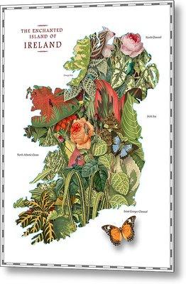 Plant Map Of Ireland Metal Print by Gary Grayson