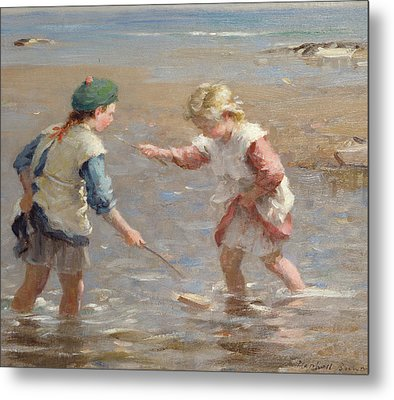 Playing In The Shallows Metal Print by William Marshall Brown