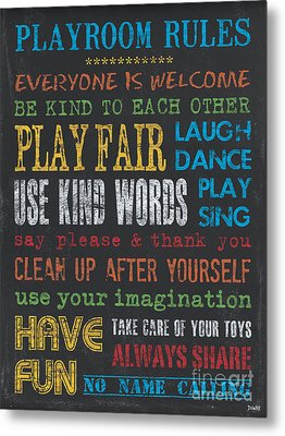 Playroom Rules Metal Print