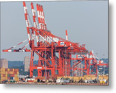Pnct Facility In Port Newark-elizabeth Marine Terminal I Metal Print by Clarence Holmes