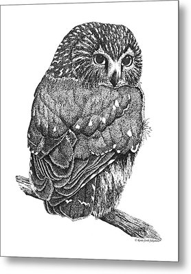 Pointillism Sawhet Owl Metal Print by Renee Forth-Fukumoto