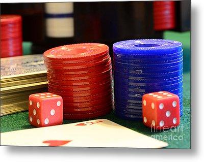 Poker Chips Metal Print by Paul Ward