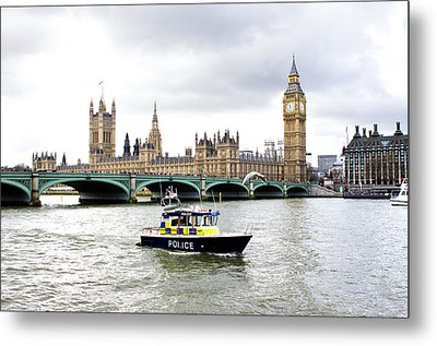 Police Boat On The River Thames Outside Parliment Metal Print by Fizzy Image